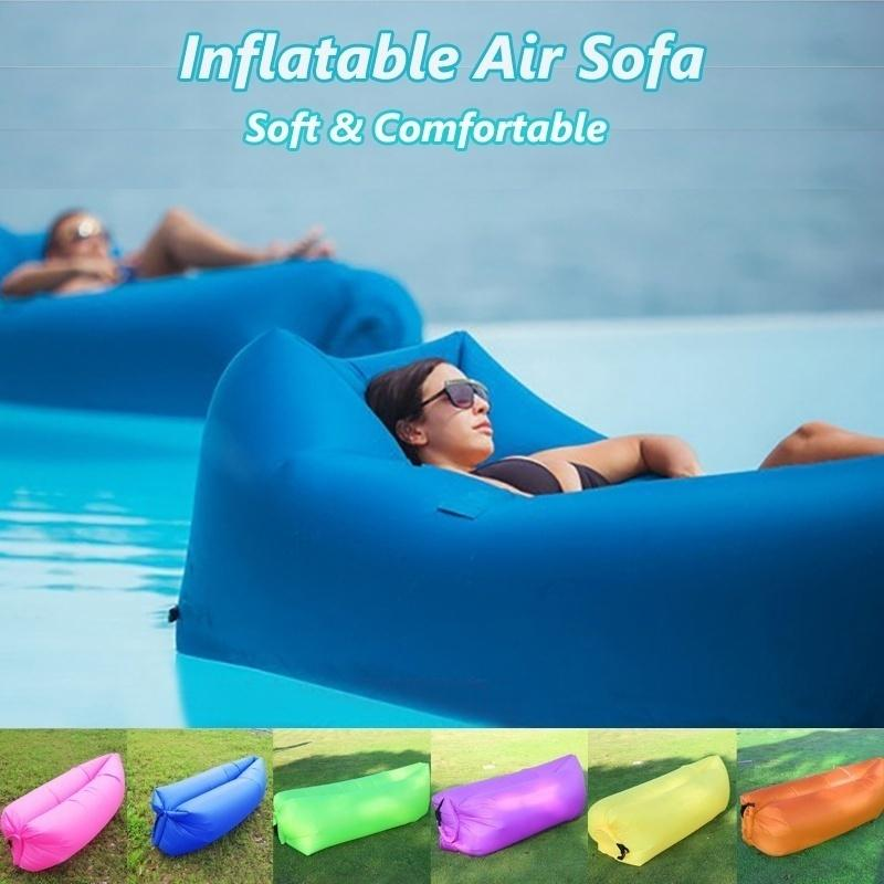 Indoor Camping Inflating Air Bed Beach Lounger Cushion Chair Soft Lying Rose