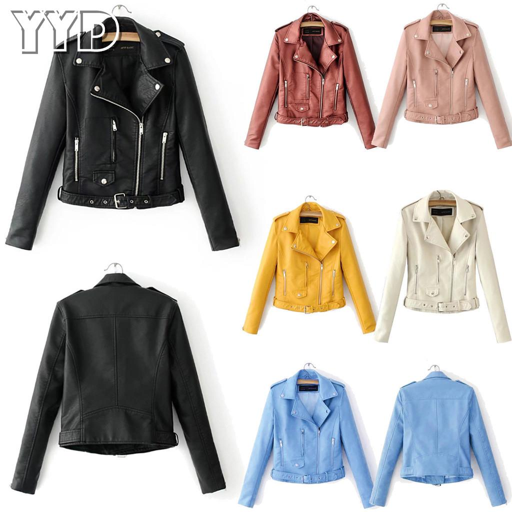 Cool Women Biker Motorcycle Zipper Up PU Leather Cropped Slim Jacket Short Coat