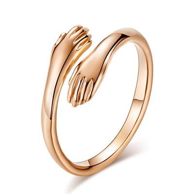 Simple And Romantic Two-handed Hug Ring Female Opening Fashion Creative Glossy Golden Couple Ring Valentine's Day Gift