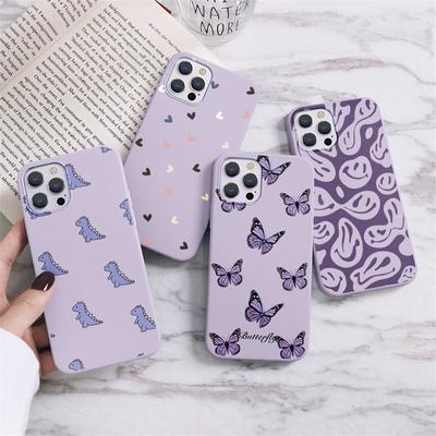 Dinosaur Butterfly Soft Case for iPhone 12 11 Pro Max XR Samsung A52 A32 A50 A51 S21 A12 A71 A72 Huawei Xiaomi Mi 11 Lite Redmi Note 10 8 9 Cover