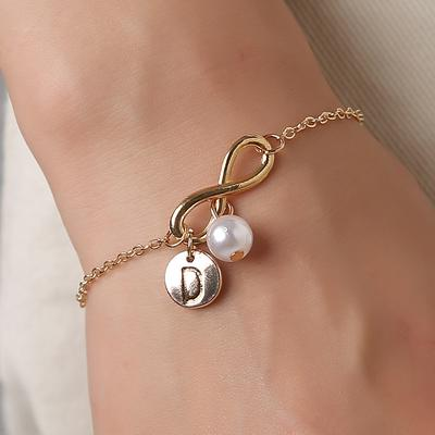 1 x Charm Stainless Steel Adjustable Pearl Heart Round Letters Bangle Bracelet