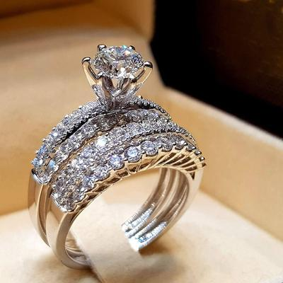 Women Fashion Ring Simple Wild Jewelry Party Ring Bride Wedding