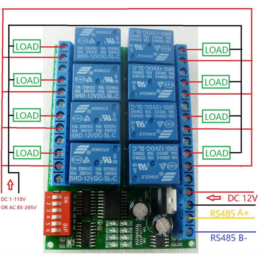 12v 8ch Rs485 Relay Serial Port Remote Control Switch For Plc The 8way Board 1 Of 5