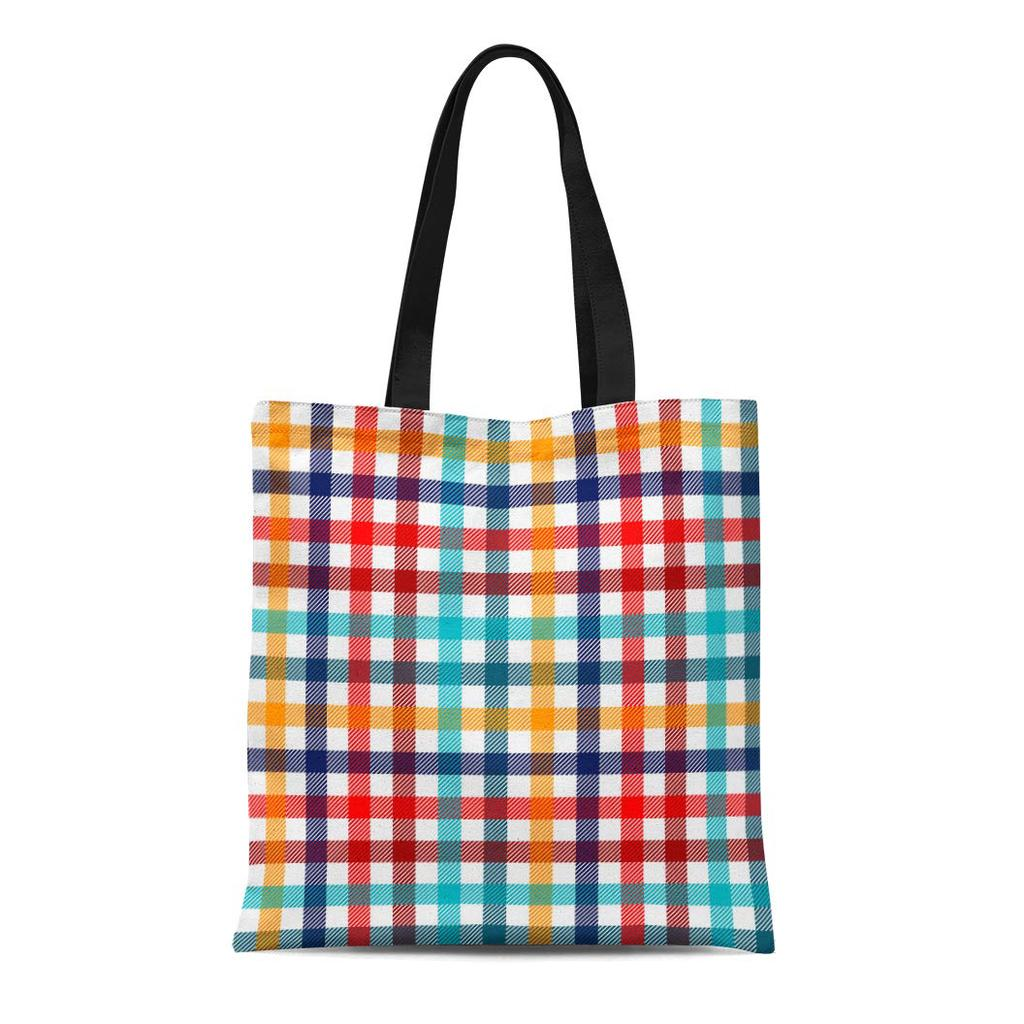 Tote Bag red white and blue plaid with star