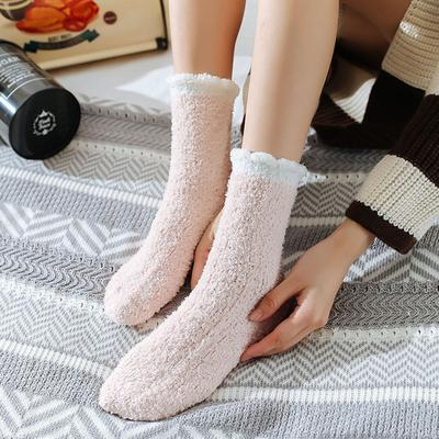Womens Winter Fluffy Long Socks Thick Warm Coral Sleep Fleece Floor Candy Color