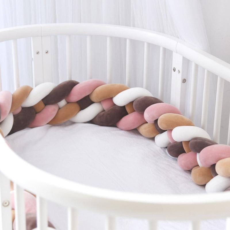 Decdeal Baby Handmade Soft Knot Pillow Pad Cushion Nursery Cradle Decor Newborn Gift Crib Protector Cotton 3 Meters 118.1 Inch