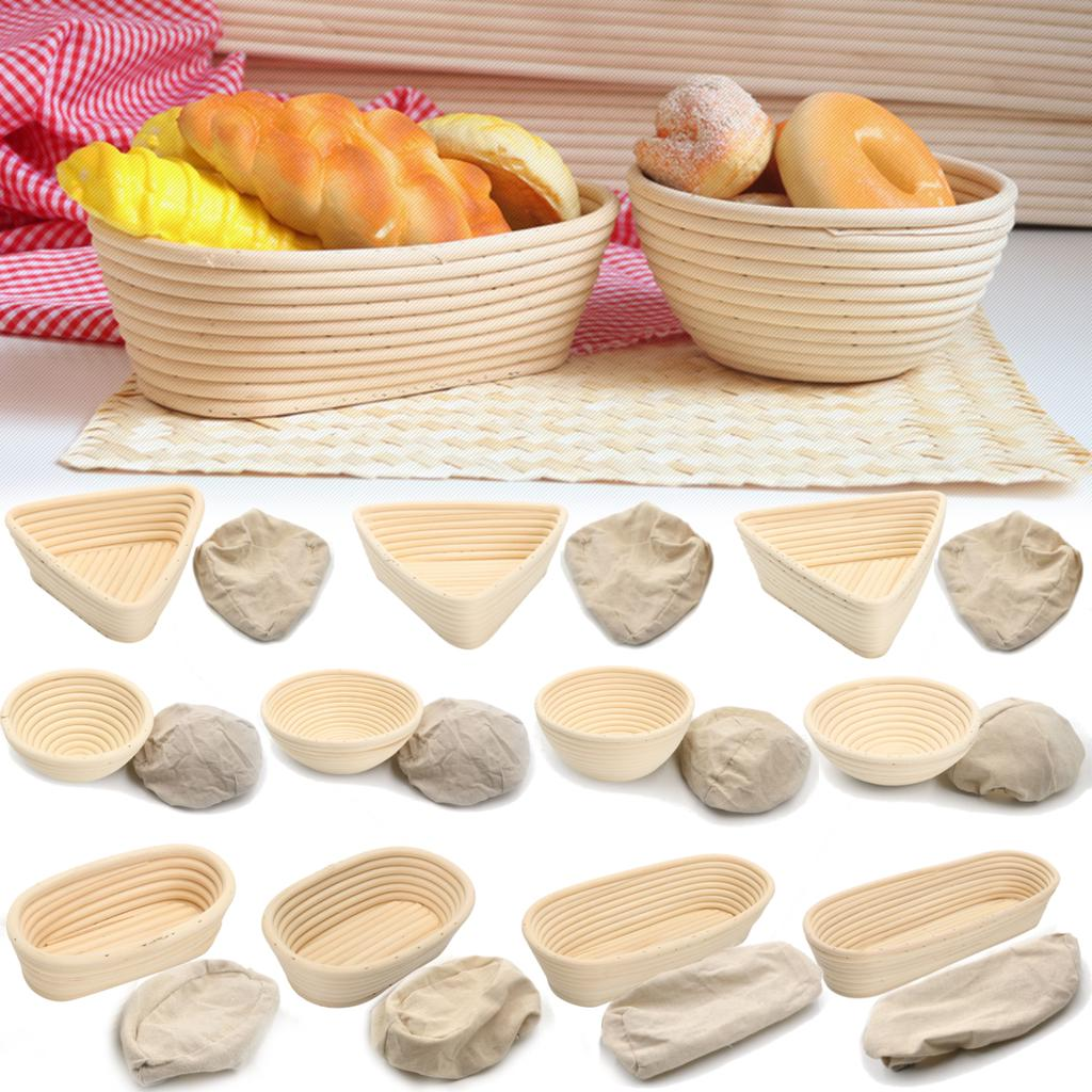 TK Makes runder Brotg/ärk/örbchen Set mit 2 Banneton Proving 22,9 und 25,4 cm Rattan Sauerteig Brotk/örbe mit Stoffbeutel Brot machen Werkzeuge f/ür B/äcker Teigschaber Mehlbesen Ritzellame