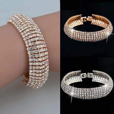 Fashion Charm Women Crystal Rhinestone Cuff Bracelet Bangle Jewelry Gift Hot