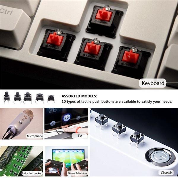 180pcs/box Tactile Push Button Switch Micro-trigger Mini Momentary Tact  Assortment Kit