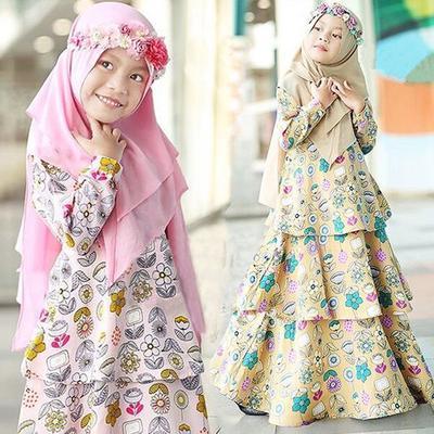 80f8c9ea6551f Ramadan Muslim Abaya Dubai Robe Traditional Clothing Dress Toddler Baby Kid  Girl