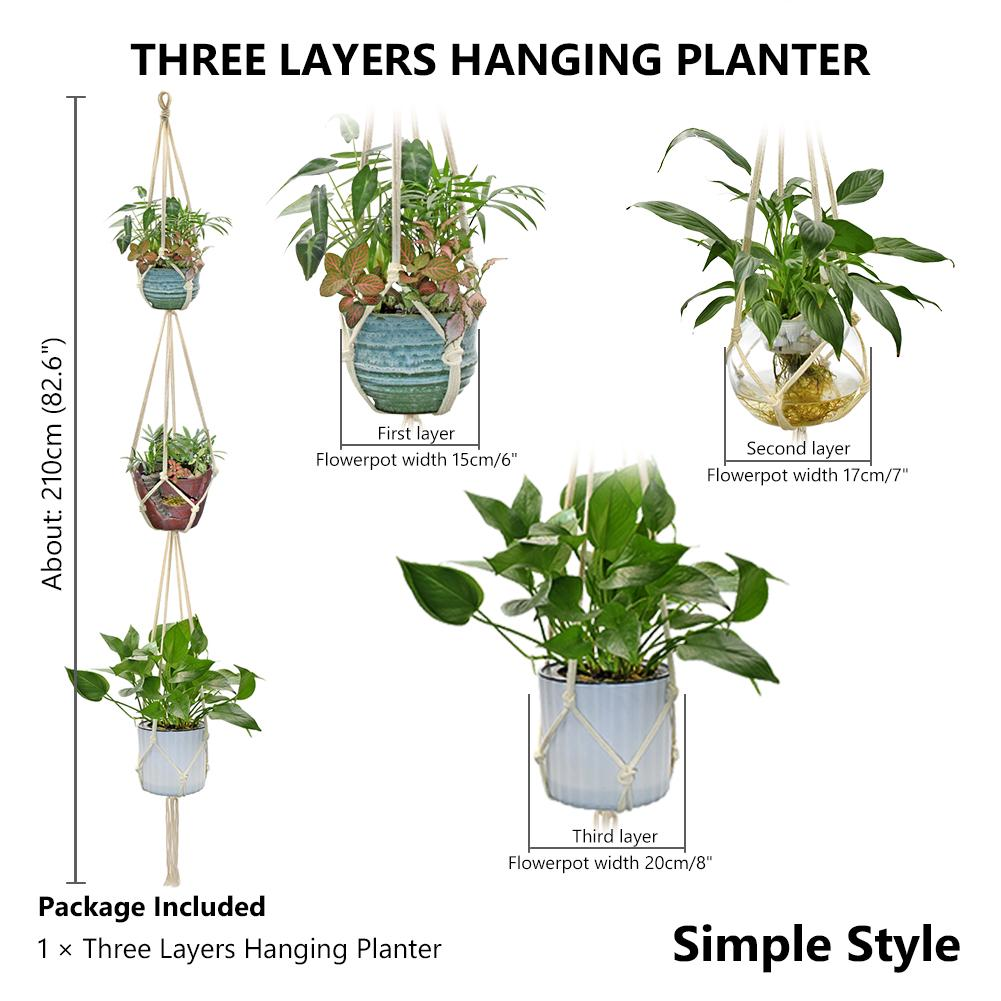 Three Layers Hanging Planter Indoor Flower Pots Plants Holder Simple Style Buy At A Low Prices On Joom E Commerce Platform