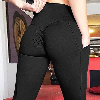 Leggings Women Fitness Pants S-XL Pure Color High Waist Trousers Pocket Elastic Workout Push Up Pants