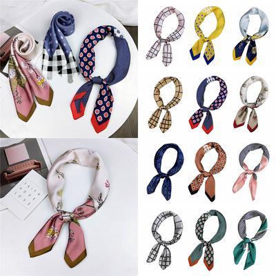 Neckwear Neckerchief Little Triangle Scarf Silk Feel Satin Hair Tie Band