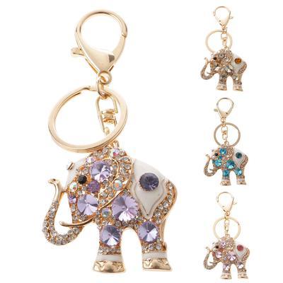 Crystal Elephant Keychain Keyring Rhinestone Key Chain Ring Bag Purse Car Charm
