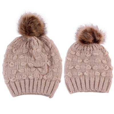 8589a27b08a 2Pcs Mom Baby Pompon Winter Warm Beanie Caps Kids Knitted Parent-Child Hat