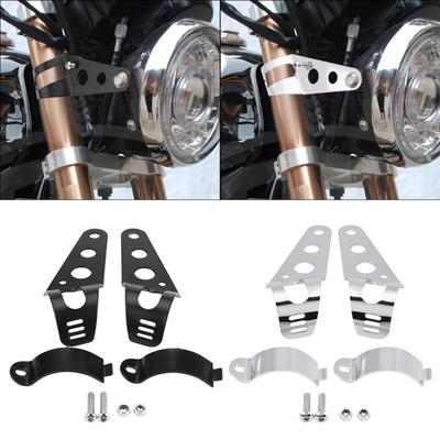 2X Motorcycle Racer Cafe Mount Accessories Front Fender Brackets Headlight Light