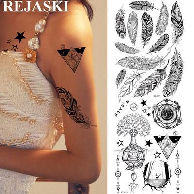Tattoo Paper Waterproof Metallic Temporary Sticker Body Art Black Rose Flower Pattern Rectangle Buy At A Low Prices On Joom E Commerce Platform