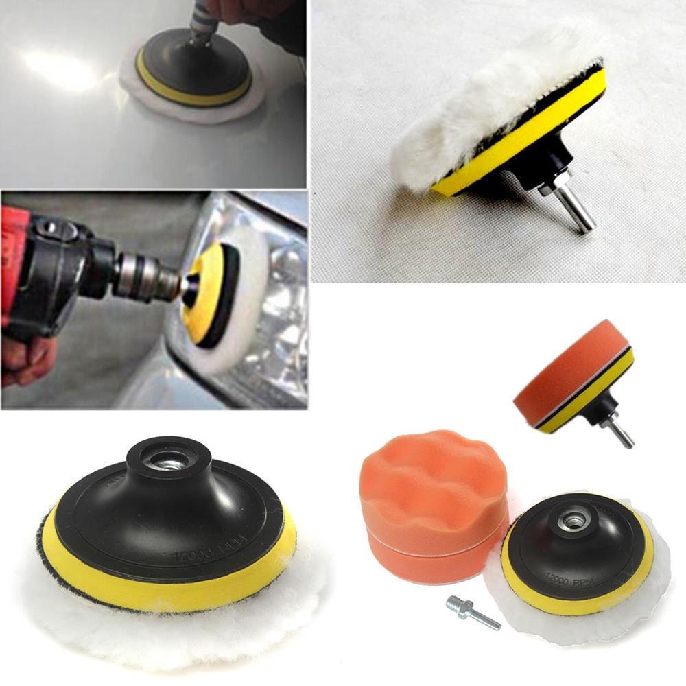 """4pcs*7/"""" Orange Foam Buffing Waffle Polishing Pads Backed For Car Polisher"""