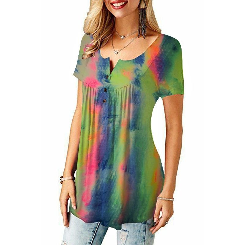Plus Size Casual O-Neck Tie-Dye Tops for Women Casual T Shirt Summer Short Sleeve