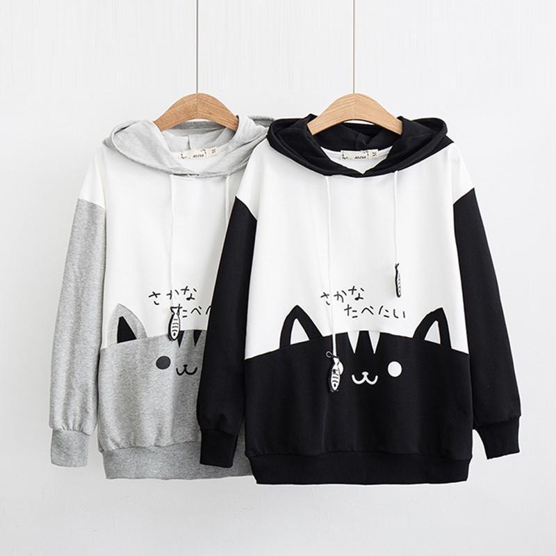 Hoodies for Women Pullover,Cute Cat Printed Long Sleeve Pullover Loose Hooded Sweatshirt Sweater Blouse Tops