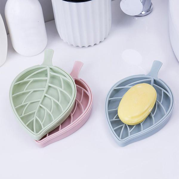 US Portable Soap Dishes Plastic Double Layers Leaf-Shaped Soap Case Holder Home