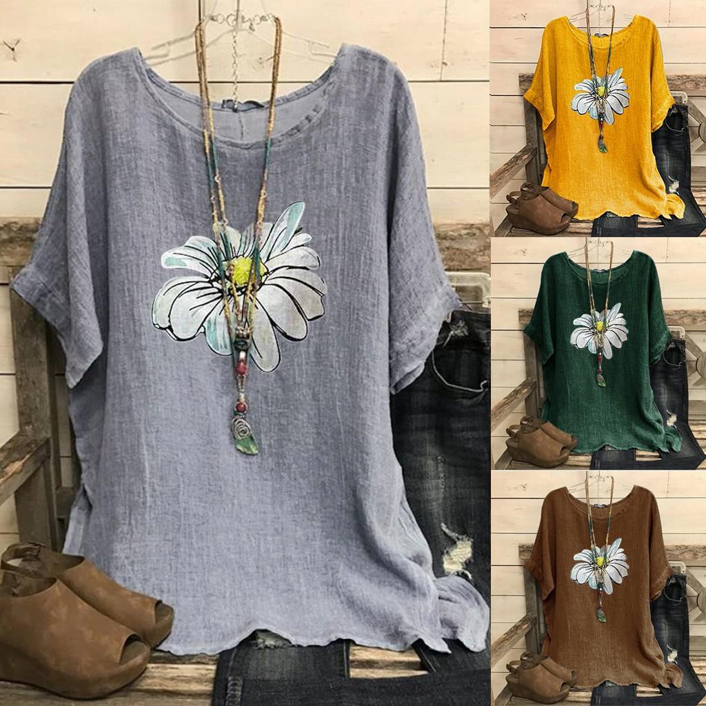 Aly женщины Винтаж Хлопок-Blend O-Neck Короткие рукава Цветочный принт Топ футболки Блузка – купить по низким ценам в интернет-магазине Joom