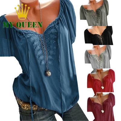 Womens Casual Loose Swing Shirt V Neck Cotton Linen Long Sleeve Plaid Bat-Wing Blouse Top Plus Size