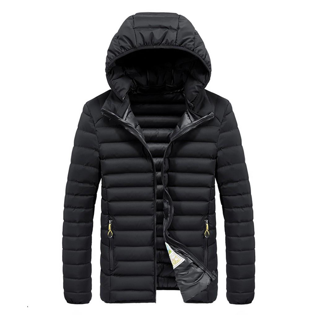 Mens Winter Fashion Splicing Hoodie Patchwork Thickened Cotton Padded Coat