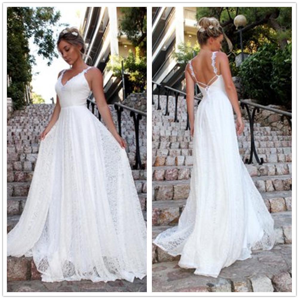 Frauen Sexy V-Ausschnitt Spitzen Kleid ärmellos rückenfreie weiße elegante  lange Party-Brautkleid
