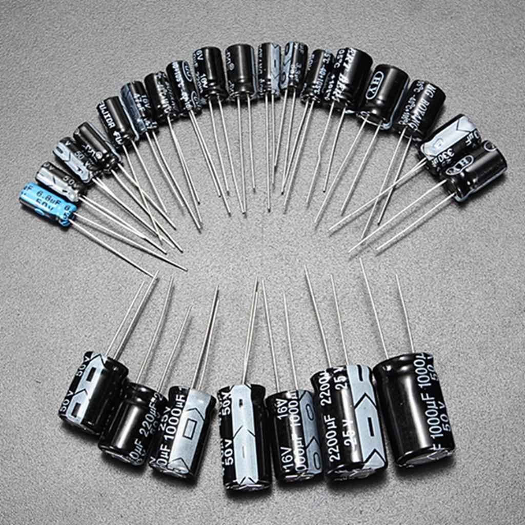 125 Pcs 1uF~2200uF 25 Values Electrolytic Capacitors Circuit Parts Assortment Kit Set Electrolytic Radial Capacitors