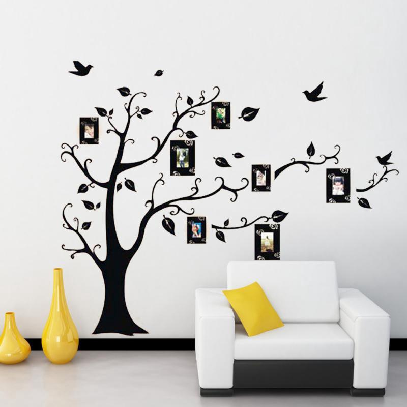 Sala extraíble Decor foto de familia marco negro árbol pared ...