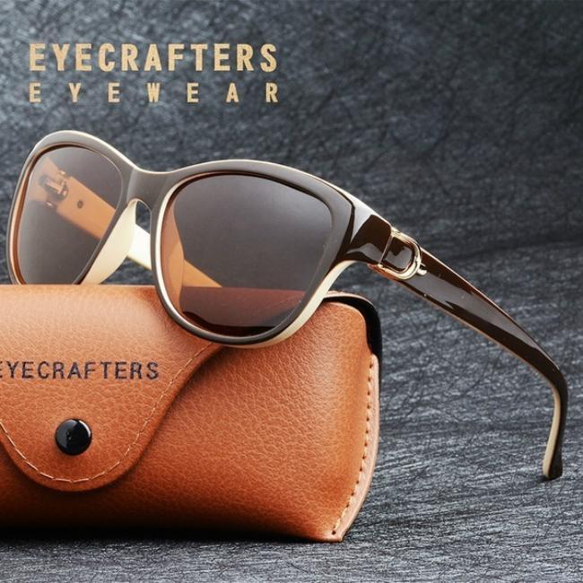 Женские пластиковые элегантные солнцезащитные очки вайфареры UV400 с поляризованными линзами