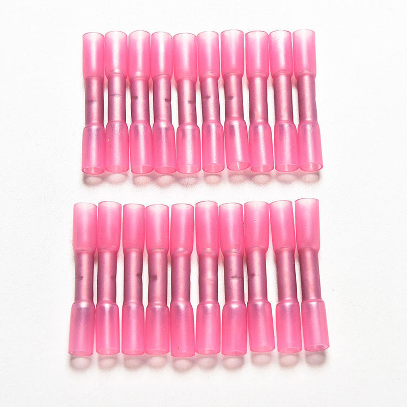 uxcell Heat Shrink Wire Connectors Wire Crimp Connectors Pink for 22-16 AWG 30Pcs