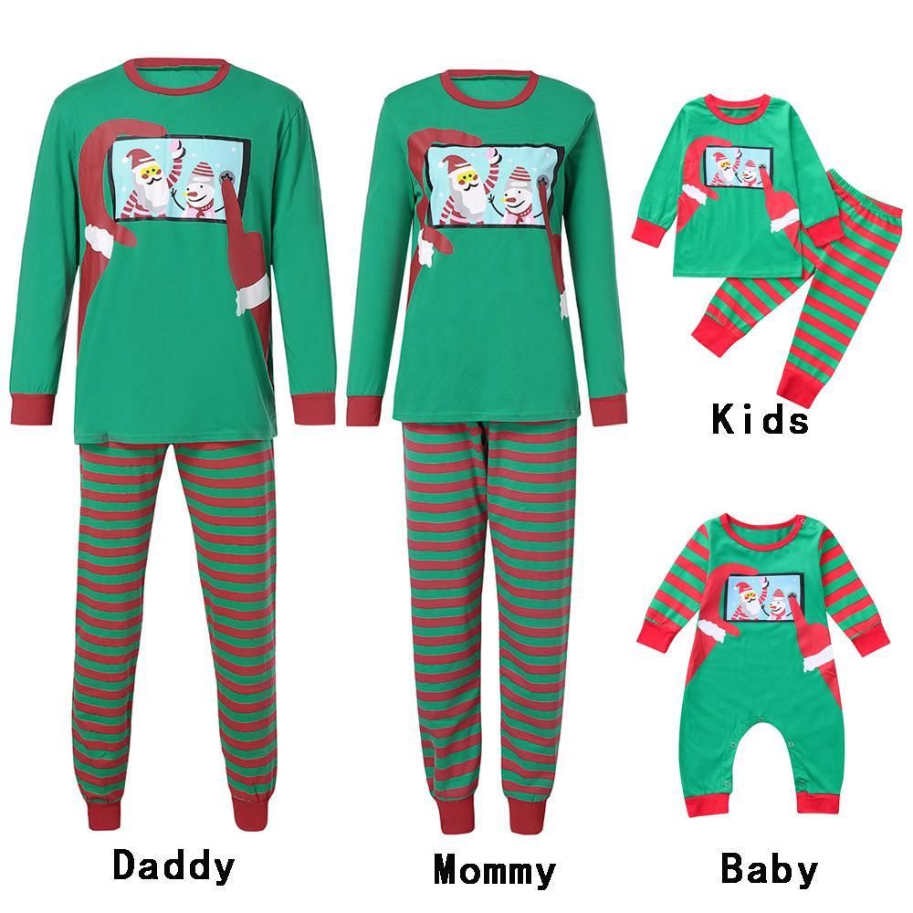 Mommy, S Matching Sleepwear Letter Lattice Printed Long Sleeve Tops Green Tree Pajamas Pant Set