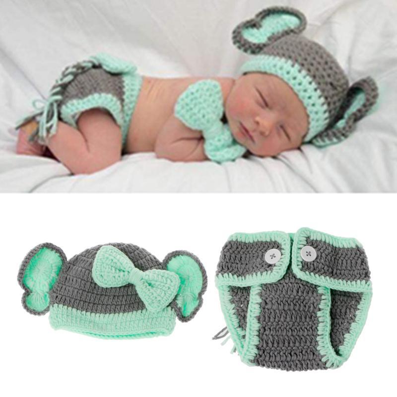 Traje de elefante precioso recién nacido hecha a mano tejido Studio ...