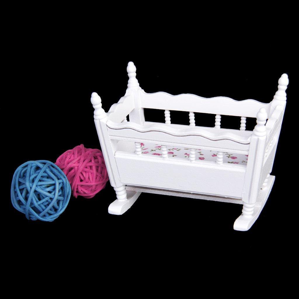 Dolls House White Baby carrozzina rosa cappuccio 1:12 Ragazze in Miniatura Mobili Per Nursery