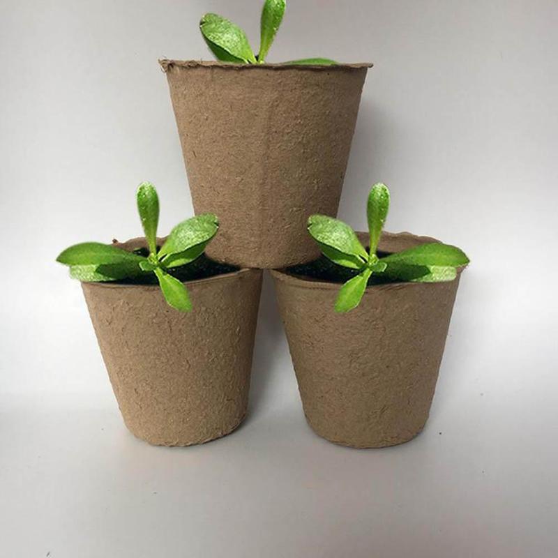 10Pcs Pulp Flower Pots Biodegradable Plants Container Seeding Tray Garden Plant