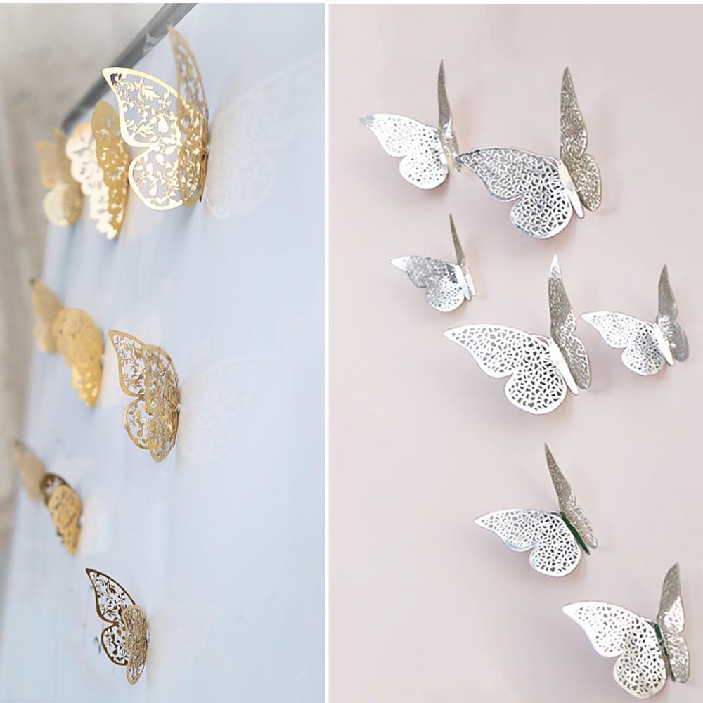 Бабочка, 12 шт 3D полые стены наклейки холодильник для домашнего украшения новые