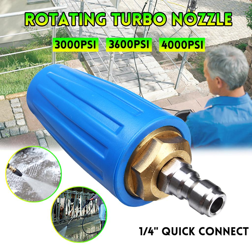 """Pressure Washer Rotating Spray Turbo Nozzle 3600//4000 PSI 1//4/"""" Quick Connect USA"""