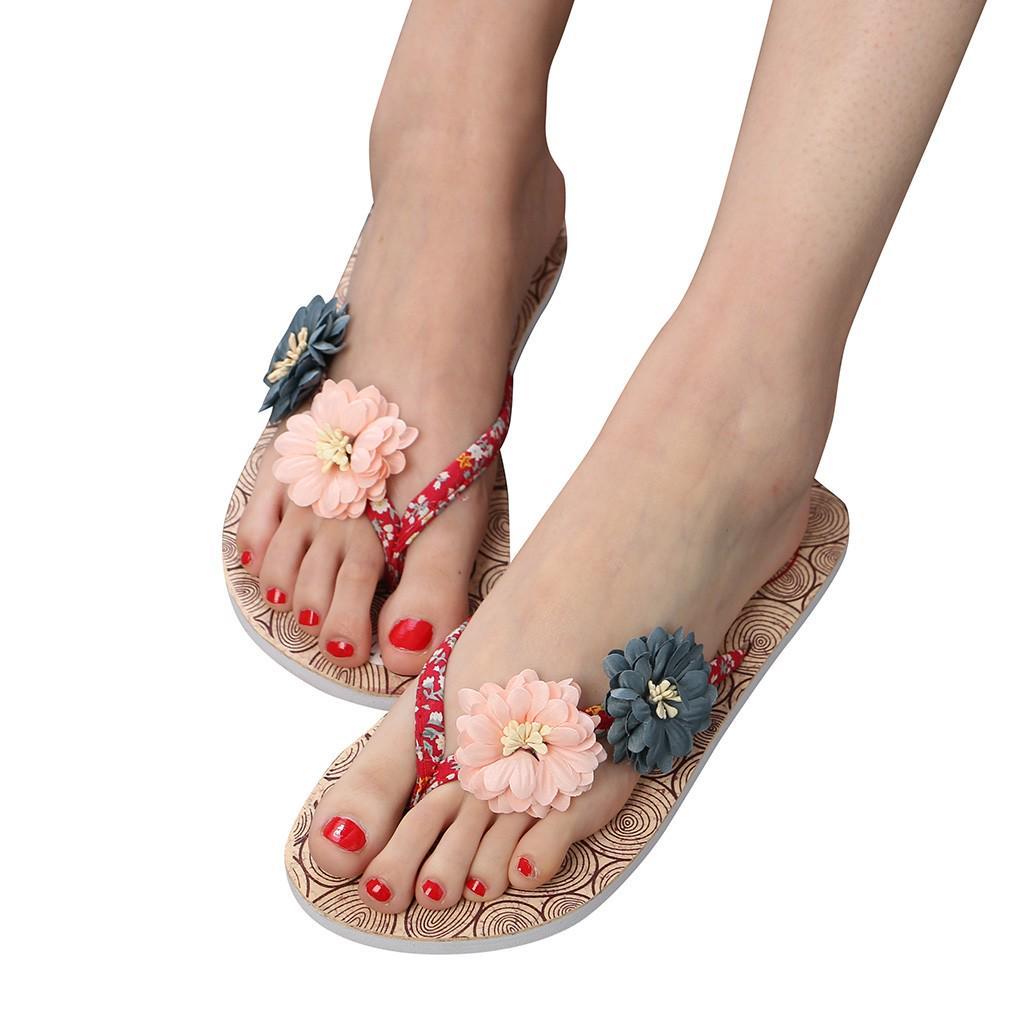 Summer Fashion Women/'s Flower Clip Toe Flip Flops Non-Slip Wedges Beach Slippers