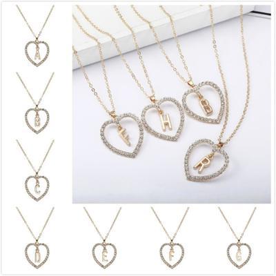 b699daae57cc 26 letras exquisitas largo suéter Zircon cadena colgante collar amor ...