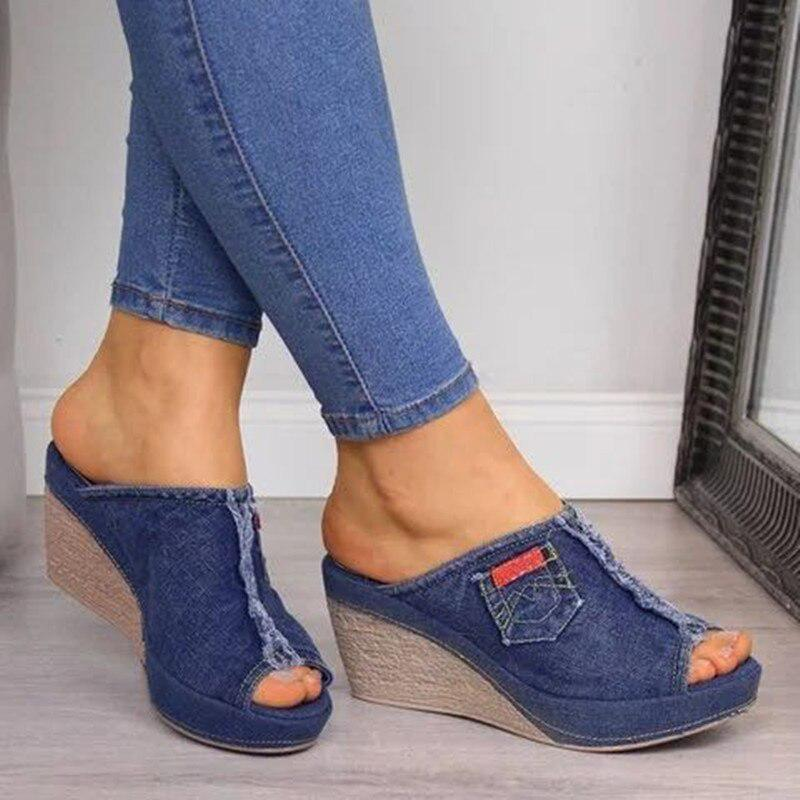 Ladies Rhinestone Shoes Peep Toe Sandals Wedge High Heels Platform Slippers Mule