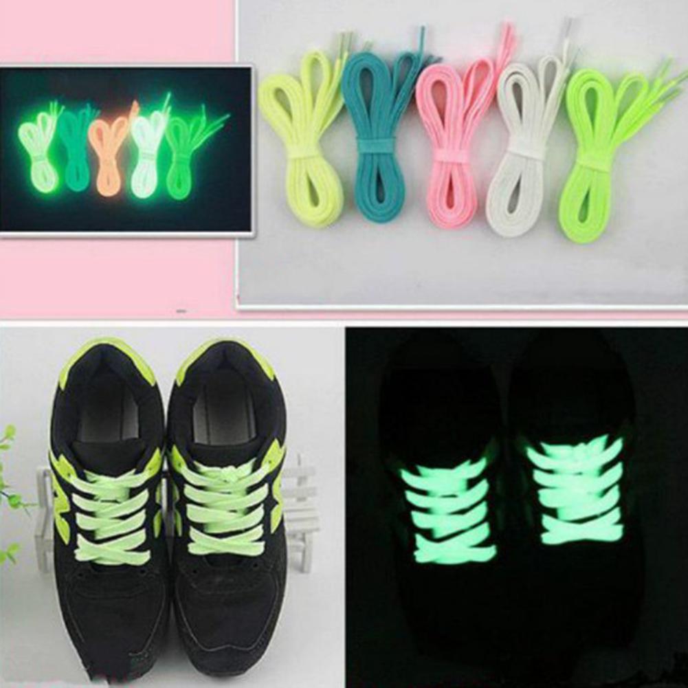 1 пара спорта Светящиеся Шнурки свечение в темный цвет флуоресцентные кружева плоские туфли фото