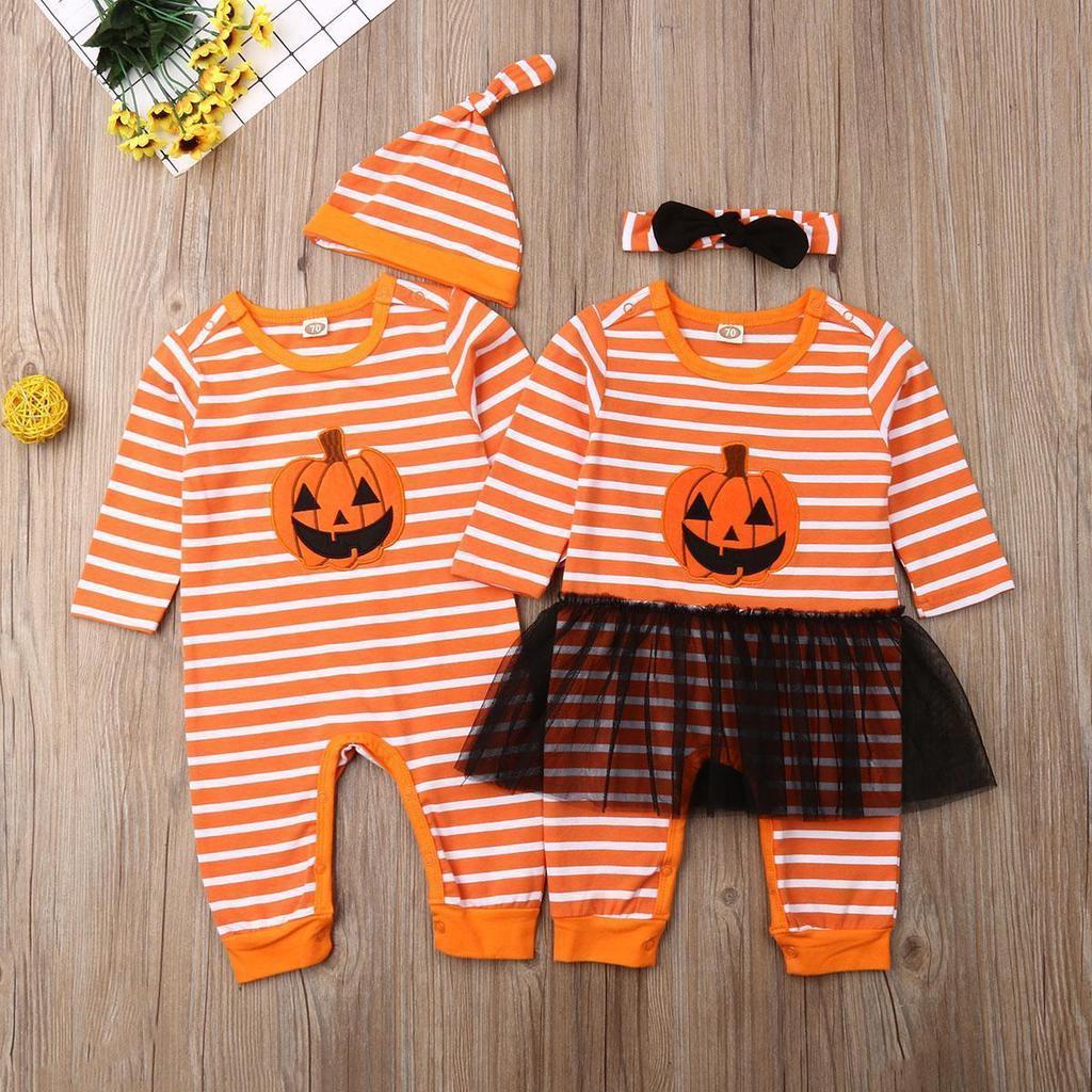Halloween Newborn Baby Boys Girls Long Sleeve Hooded Romper Striped Letter Jumpsuit Pumpkin Costume Fall Winter Clothes