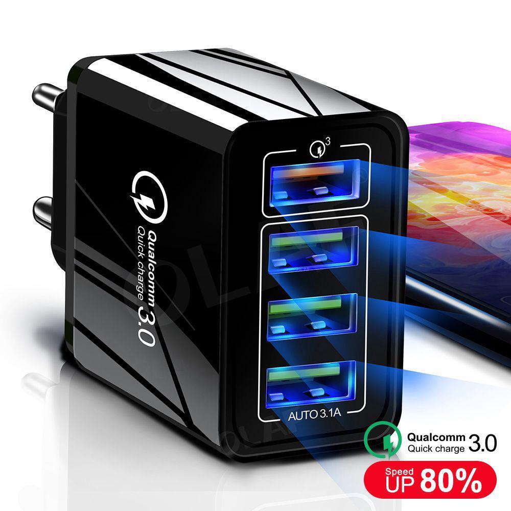 4-Port 48W Быстрый зарядное устройство 3.0 USB зарядное устройство для Samsung IPhone Huawei планшета КК 3.0 Быстрый зарядное устройство Адаптировать – купить по низким ценам в интернет-магазине Joom