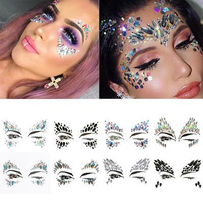 Face Diamond Sticker Eco-Friendly Resin Crystal Rhinestone Holiday ... ddaee3aec9fd