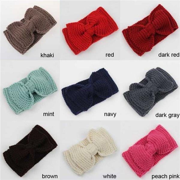 Mujeres dama Crochet arco nudo punto punto diadema Headwrap invierno ...