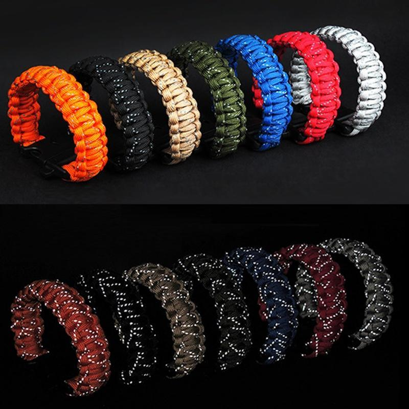 Outdoor Paracord Survival Bracelet with Whistle /& 11FT Reflective Rope Gear Kits