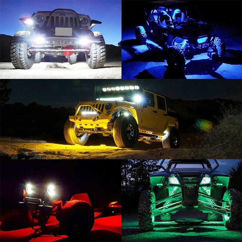LED 4X4 Offroad For Jeep Under Body Rock Lights Bright White Wireless Controller