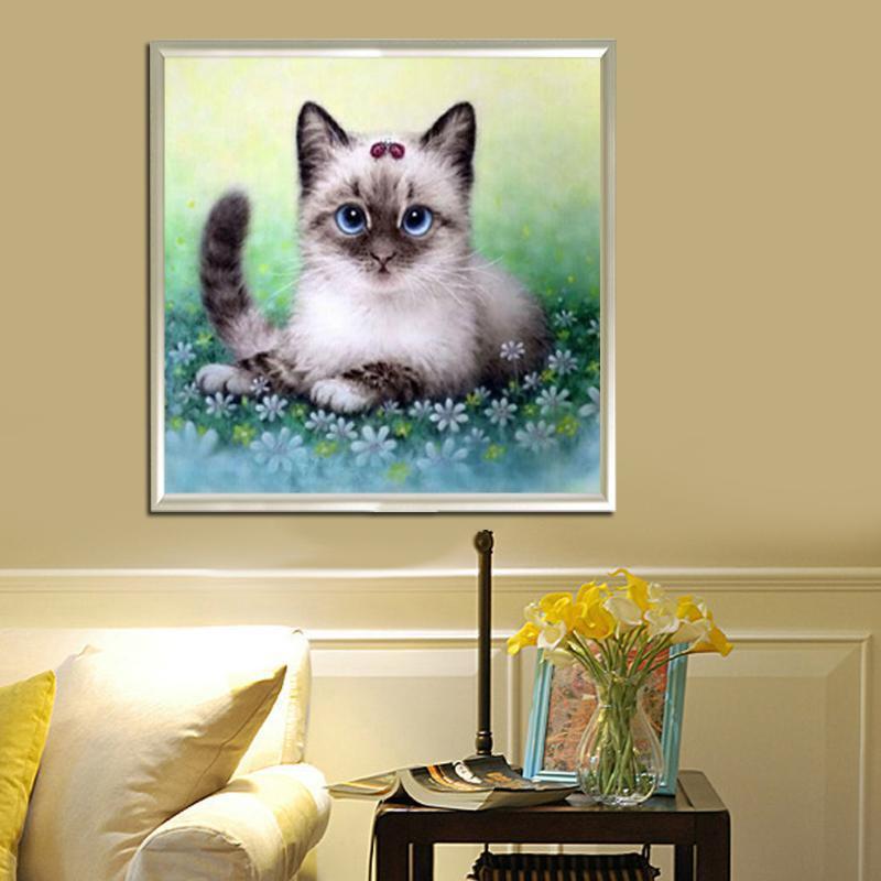 儿童动物5D钻石画可爱卡通动漫小猫咪粘贴十字绣外贸俄罗斯 热销